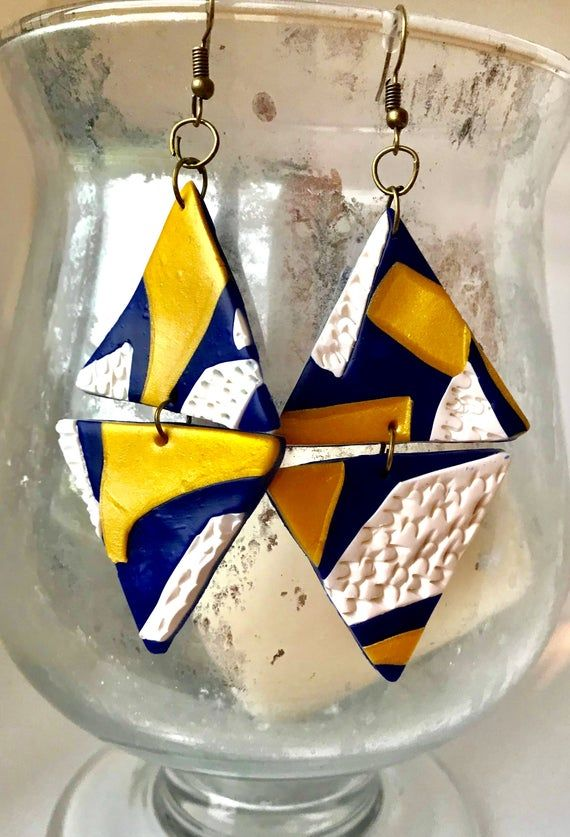 Navy Blue Artsy Mismatched Earrings-Buy Your Pair Today