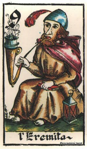 IX. The Hermit - Smokers Tarot (Tobacco Tarot) by Arnell's Art , 1981