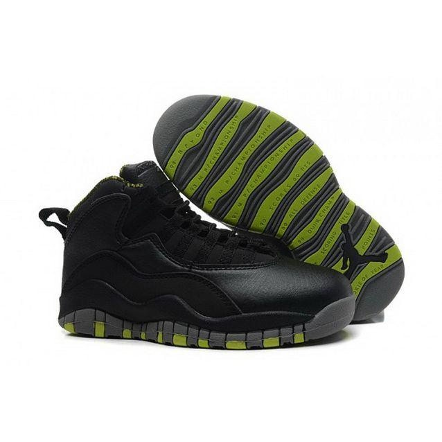 Nike Air Jordan 10 Retro Shoes For Kid Black Green Nike Kids