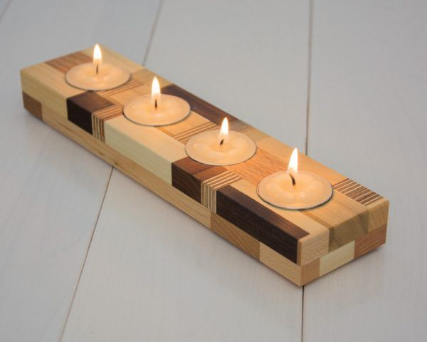 Tea Light Holder Wooden Block