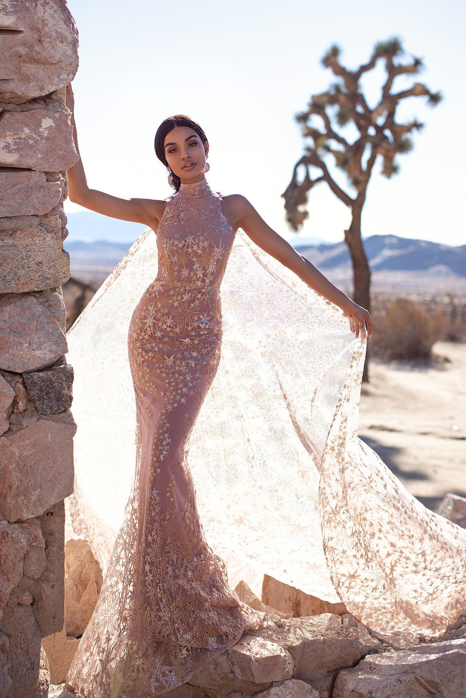 An luxe tyra glitter cape gown rose gold in 2020 gold