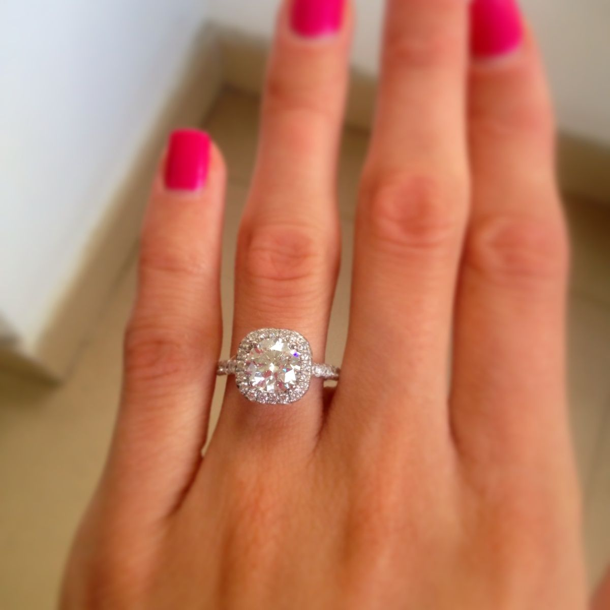 Double Halo Engagement Ring On Finger Google Search