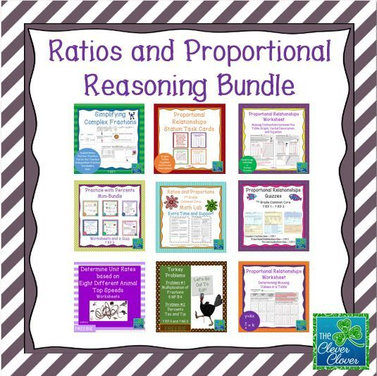 Ratios and Proportional Reasoning Bundle 7RP1 7RP2 and 7RP – Proportional Worksheets