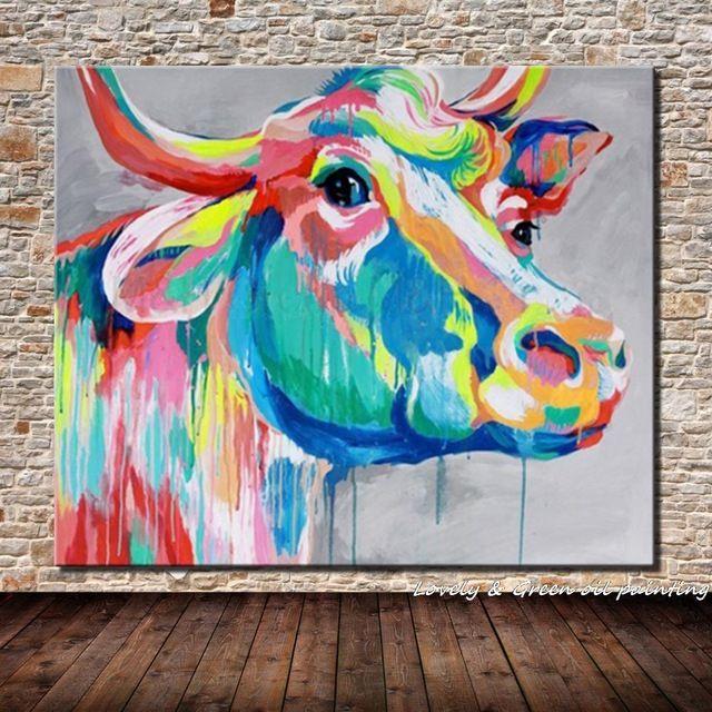 Handgemalte kuh lgem lde auf leinwand hand bull tier l for Wand kunst wohnzimmer