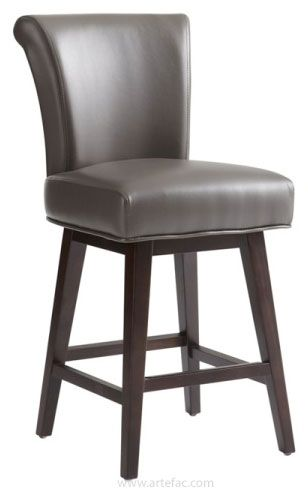 This Elegant Rolled Back Swivel Bar And Counter Stool Is