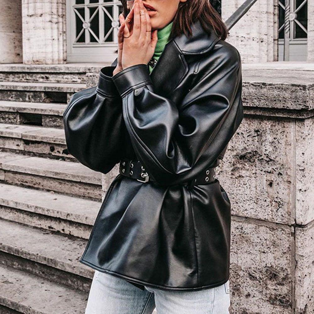 Standard Loose Women S Pu Jacket Leather Jackets Women Leather Jacket Chic Tops Blouses [ 1000 x 1000 Pixel ]