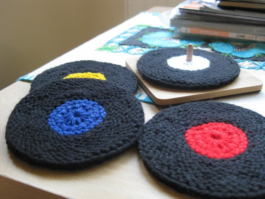 Vinyl Record Coasters by Ellen Kapusniak | Knitting Pattern - Looking for your next project? You're going to love Vinyl Record Coasters by designer Ellen Kapusniak. - via @Craftsy