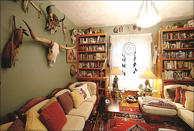 A room decorated with Native American artifacts in the home of David  Youngman. A room decorated with Native American artifacts in the home of