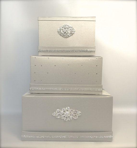 Dark Silver Wedding Money Box Gray Silver Classic Wedding Card ...