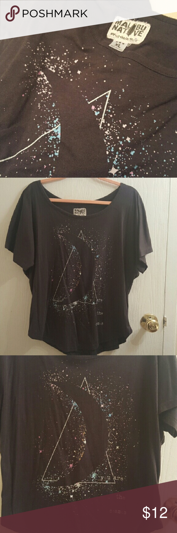"""Dark Grey Malibu Native T-Shirt size XL Dark Grey Malibu Native T-Shirt size XL (extra large). Has a hipster moon print on it and says """"you are the cosmos"""" Lightly worn, no rips holes or stains! Bought at PacSun.  Bundle and save! Ask me about custom bundles! PacSun Tops Tees - Short Sleeve"""