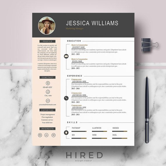 Resume Template With Photo Curriculum Vitae Cv Cover Letter Format References Free Resume Writing Guide Icons Instant Download Modern Resume Template Resume Template Cv Template Professional