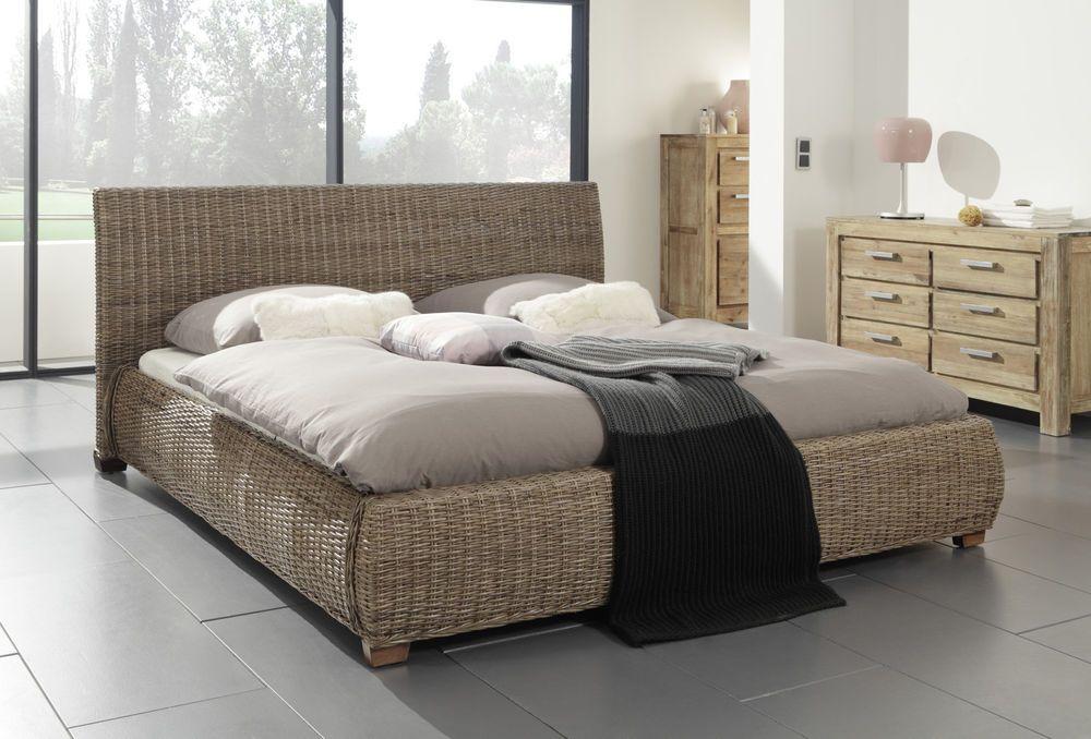 Doppelbett Rattanbett Schlafzimmerbett Bettgestell Bett