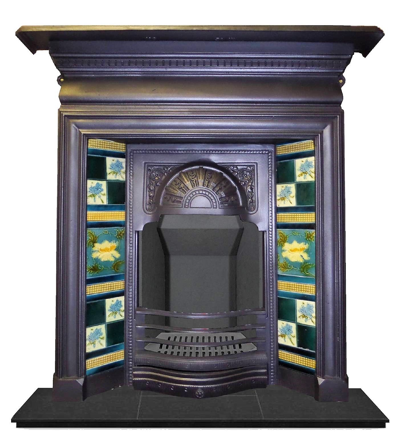 combination antique pin fireplace with early victorian all edwardian late original complete tiles