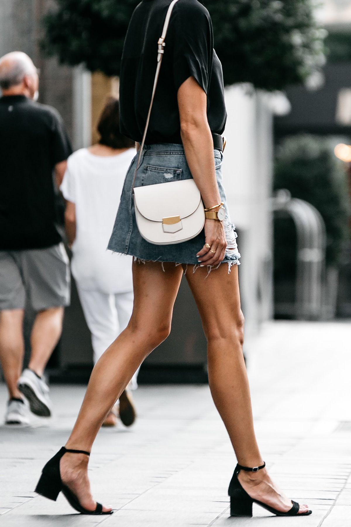 3ee8e4f9732 Everlane Black Short Sleeve Shirt Topshop Ripped Denim Skirt Outfit Gucci  Marmont Belt Celine Trotteur White Handbag Black Ankle Strap Sandals  Fashion ...