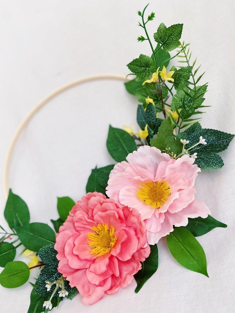 Photo of modern embroidery hoop wreath / greenery pink flower hoop wreath / baby girl nursery / bedroom / gallery wall decor / greenery hoop wreath