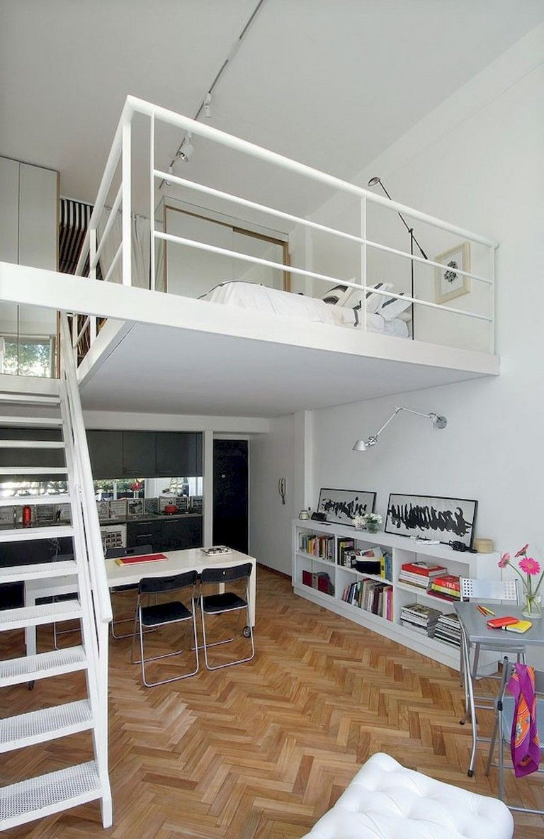 50 Wonderful Loft Stairs For Tiny Apartment Decorating Ideas Tiny Apartment Decorating Small Loft Apartments Apartment Design