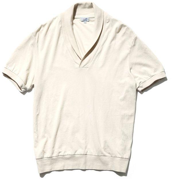 SHAWL COLLAR POLO ジャケットの下などにも着てもよし。本人のイチオシアイテム。¥19,000