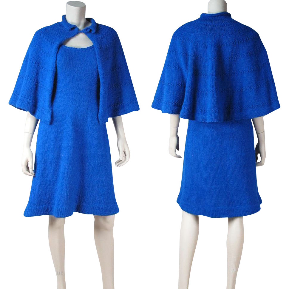 Circa 1940 Hand Knit Sweater Dress And Cape