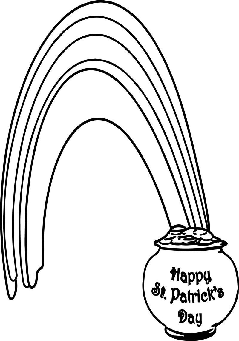 Rainbow Pot Of Gold All Saint Day Coloring Page Also Read
