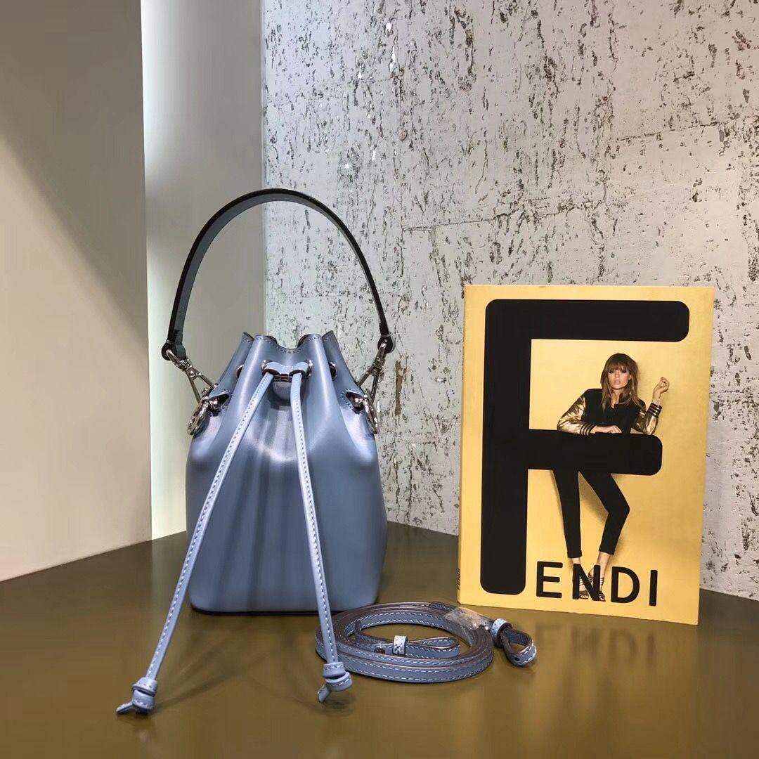 4d103136b05c Fendi Mon Tresor Leatehr Bucket Bag Light Blue 2018