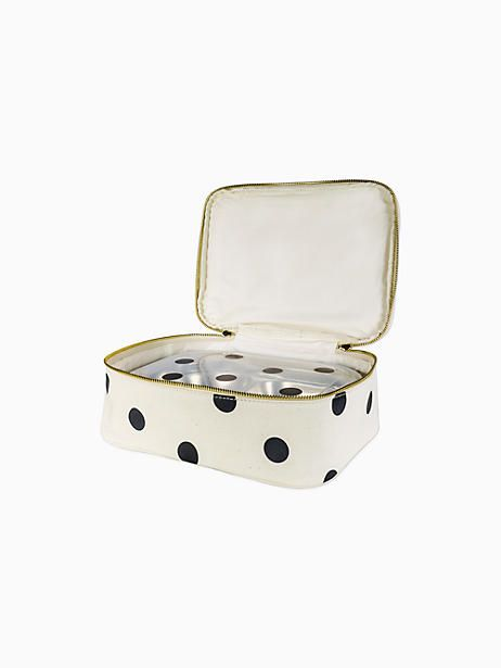 Kate Spade Deco Dot Lunch Carrier Black Cream