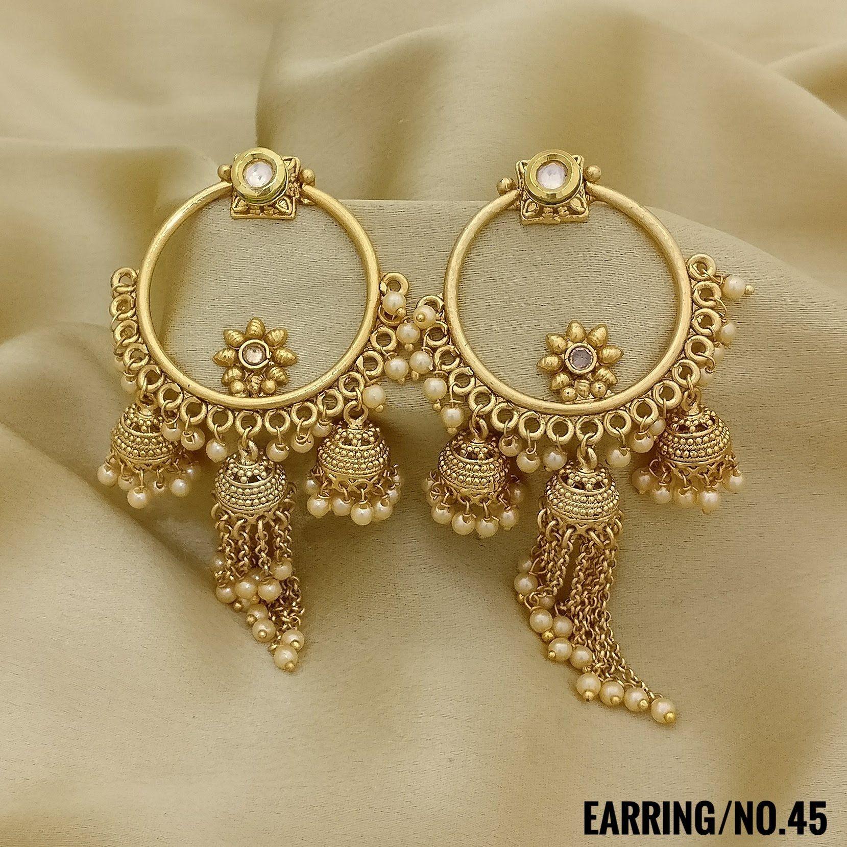 Rasrava Antique Gold Earrings Jhumki Style With Wedding Earrings