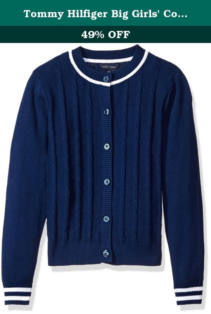 Tommy Hilfiger Girls Cable Knit Cardigan Sweater