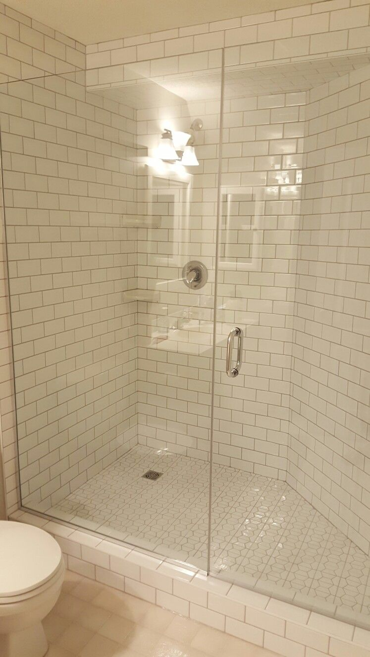 Bathroom Grout Finished Subway Tile With Greige Grout And Gorgeous Frameless