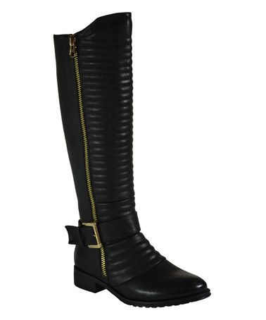 Another great find on #zulily! Black Quilted Michellan Riding Boot #zulilyfinds