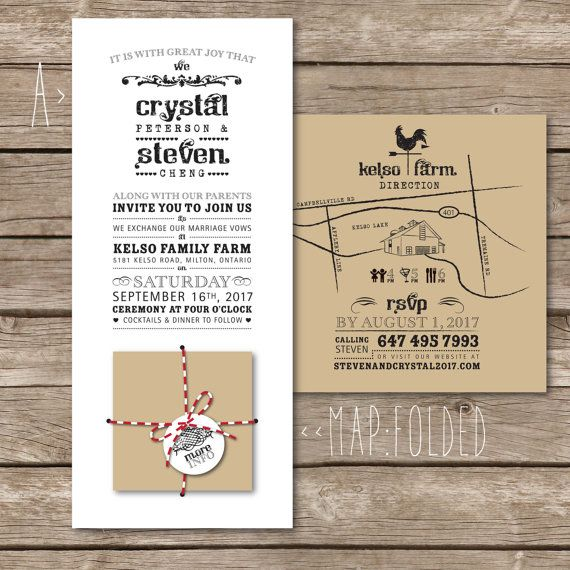 Items Op Etsy Rustic Wedding Invitation With Folding Insert Hy Fold Recycled Kraft Paper Baker S Twine And Folded Map Vintage Barn Farm