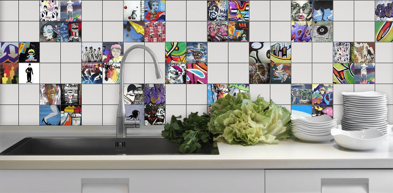 Graffiti wall tiles - Kitchen Splash Back Using Graffiti Tiles Graffiti Tiles Streetart Art Splashback