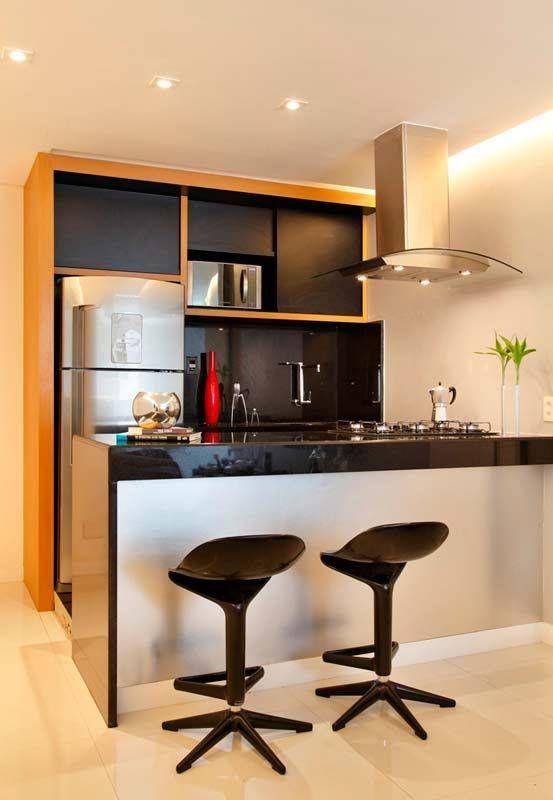 Bancada de cozinha pequena interiores cocinas Disenos de cocinas modernas para apartamentos pequenos
