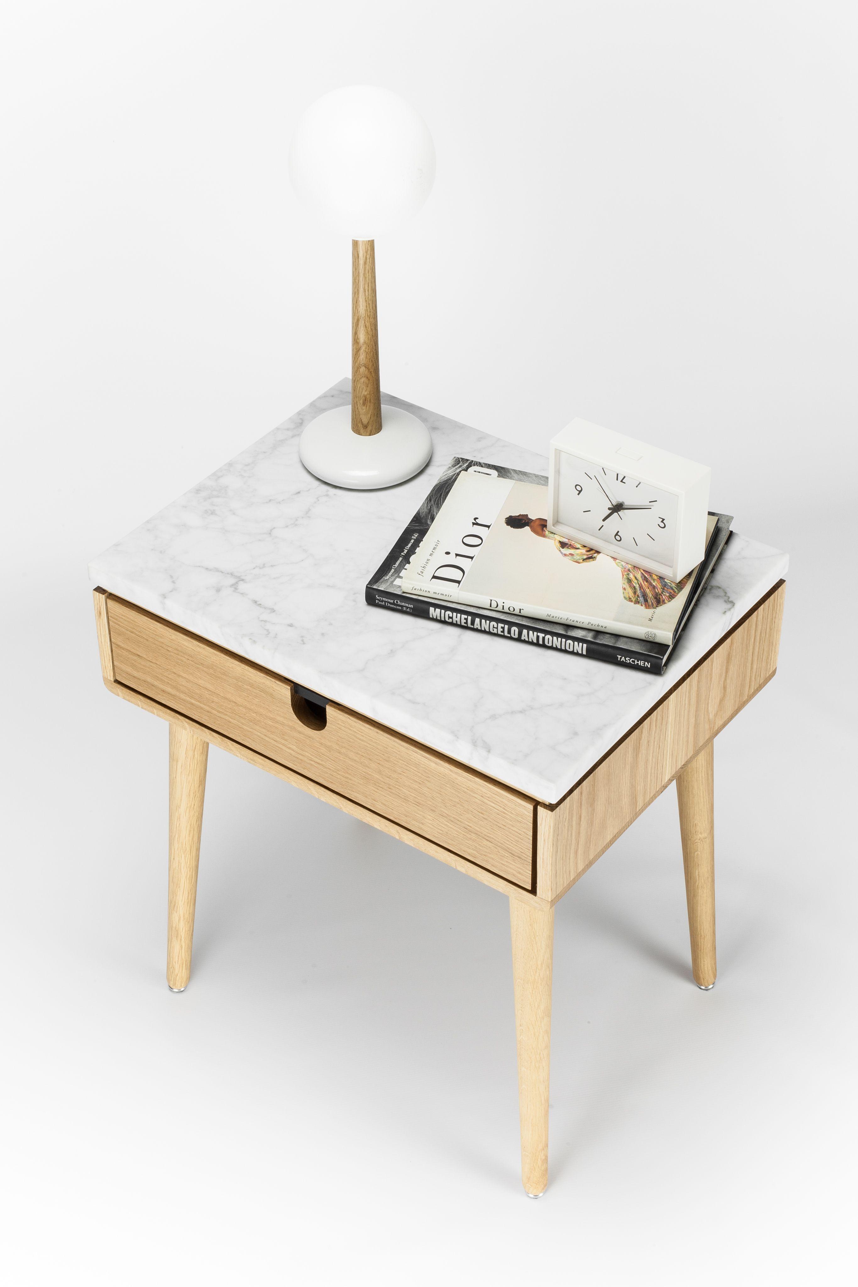 Oak Mid Century Modern Bedside Table / Nightstand In Solid Oak Board