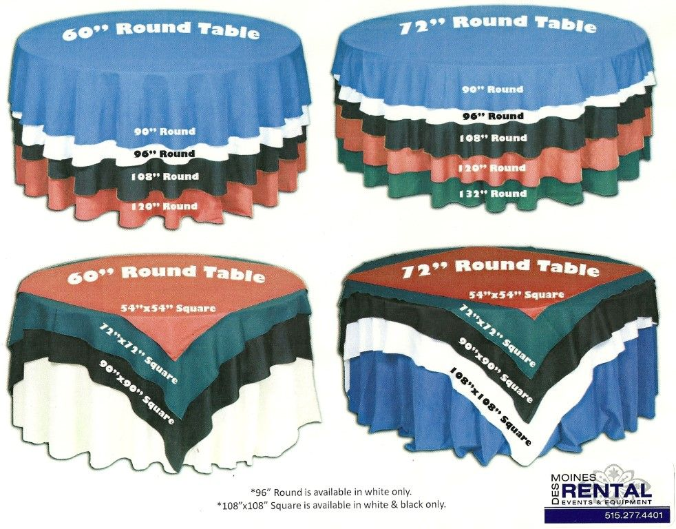 Great reference- Table cloth size and overlay size chart | Wedding ...