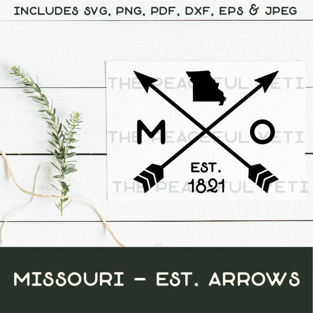 Missouri State Arrows Svg State With Established Year And Etsy Arrow Svg Svg Svg Quotes