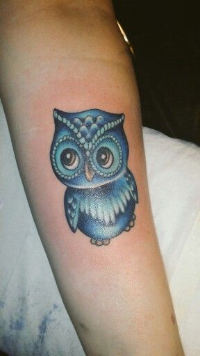 My Cute Blue Owl Tattoo Cute Owl Tattoo Tattoo Designs Owl Tattoo Design