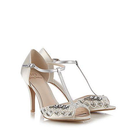 1 Jenny Packham Designer Ivory Diamante Trim High Sandals
