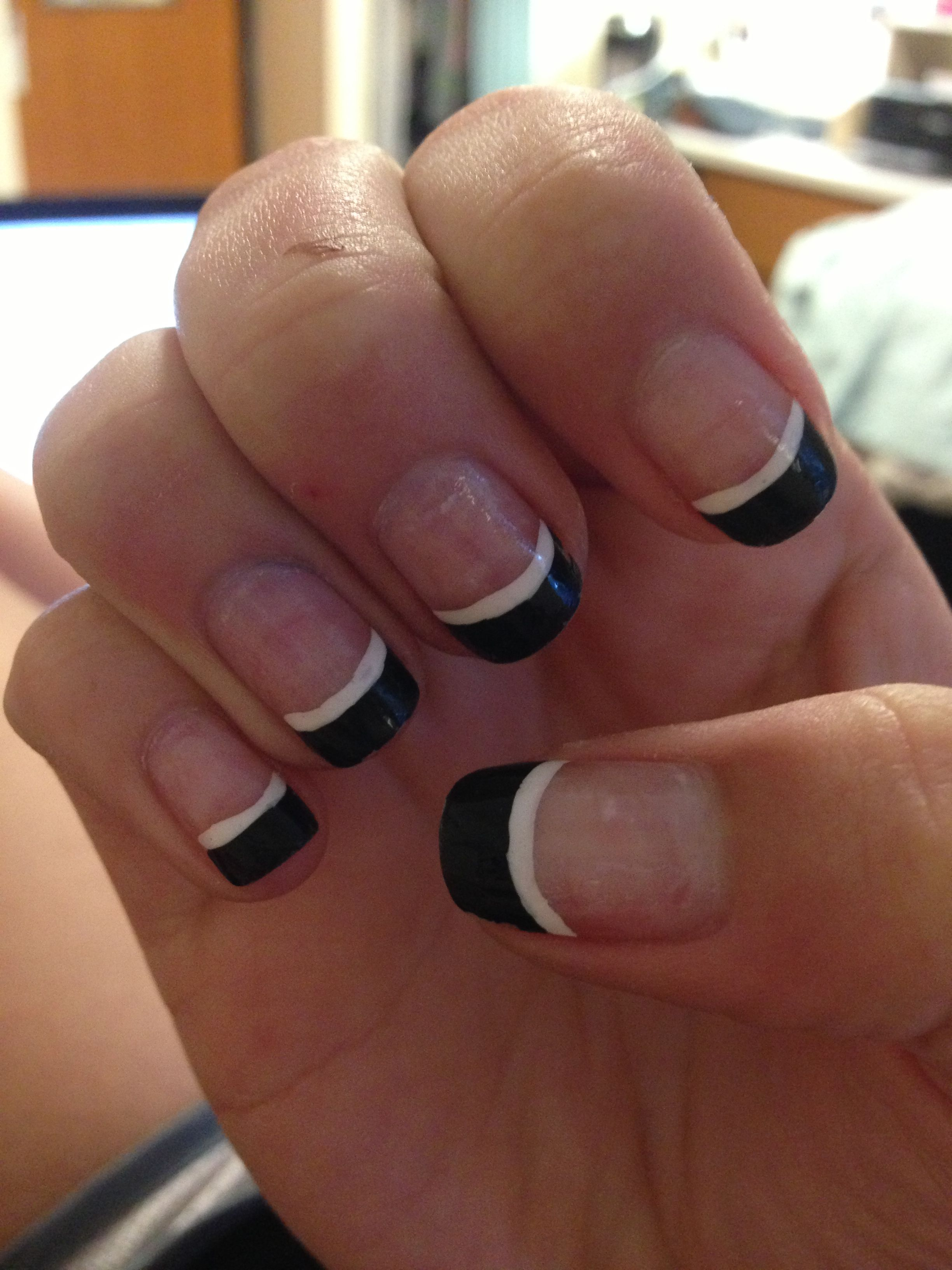 Black French tips with a white line under it (: | Nail designs ...
