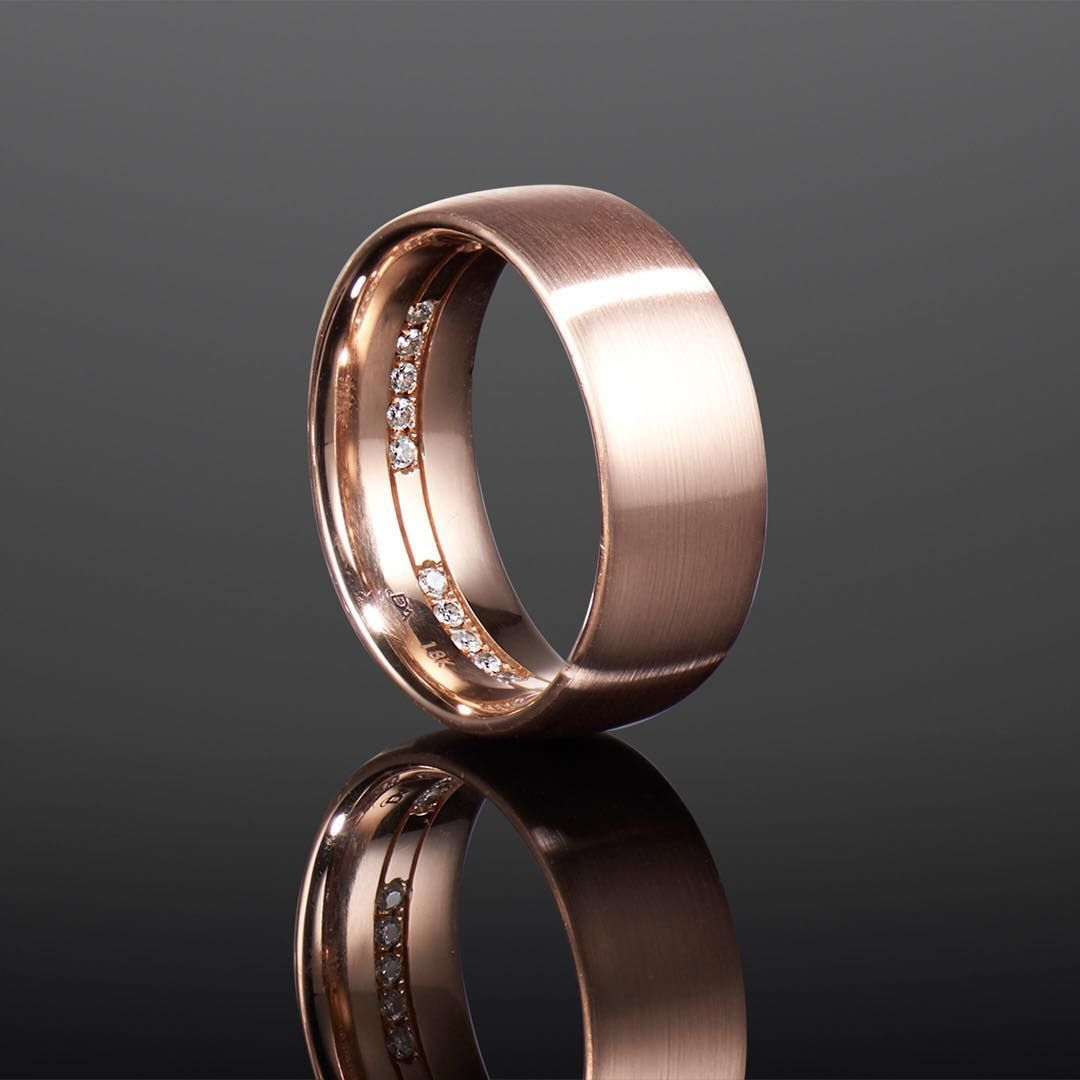 Boys Can Wear Pink This Gents Wedding Band With Trademarked David Alan Peek A Boo Diamonds Inside Is Set I Mens Wedding Rings Mens Wedding Bands Rings For Men