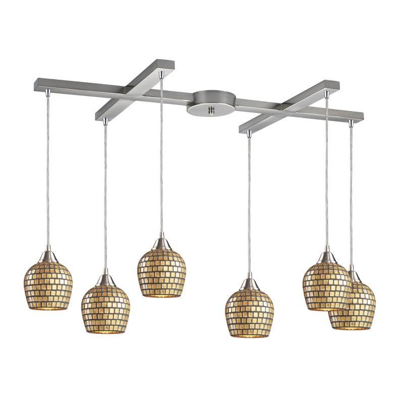 "Elk Lighting 528-6 Fusion 6 Light 33"" Wide Multi Light Pendant with H-Bar Canopy Gold Leaf Indoor Lighting Pendants"