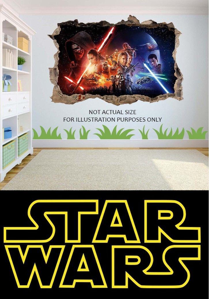 Star Wars Wandtattoo - 3D Effekt Loch in Wand Walldecal - Vinyl - spiegel f r schlafzimmer