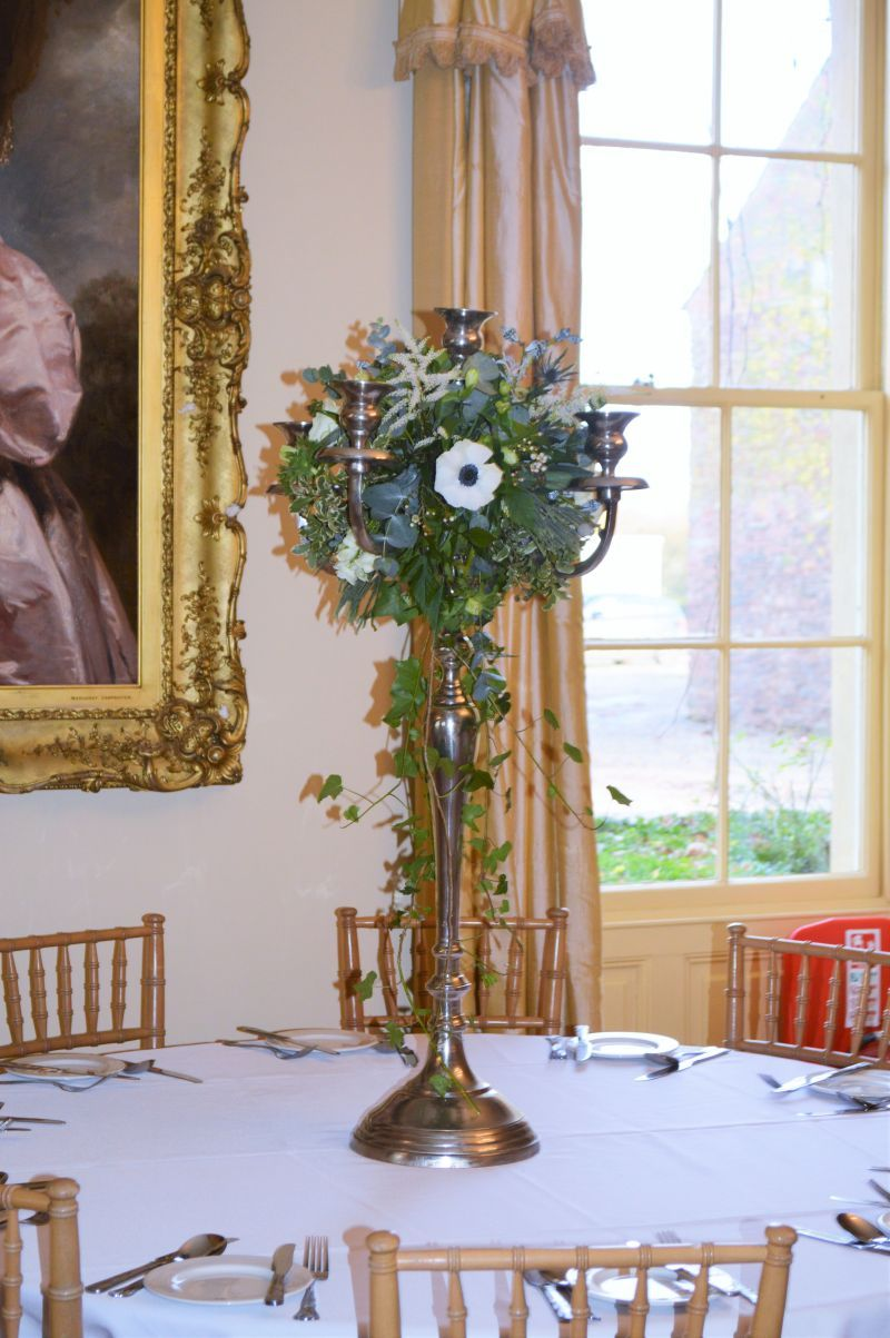 Candelabra table centres at maunsel house north newton