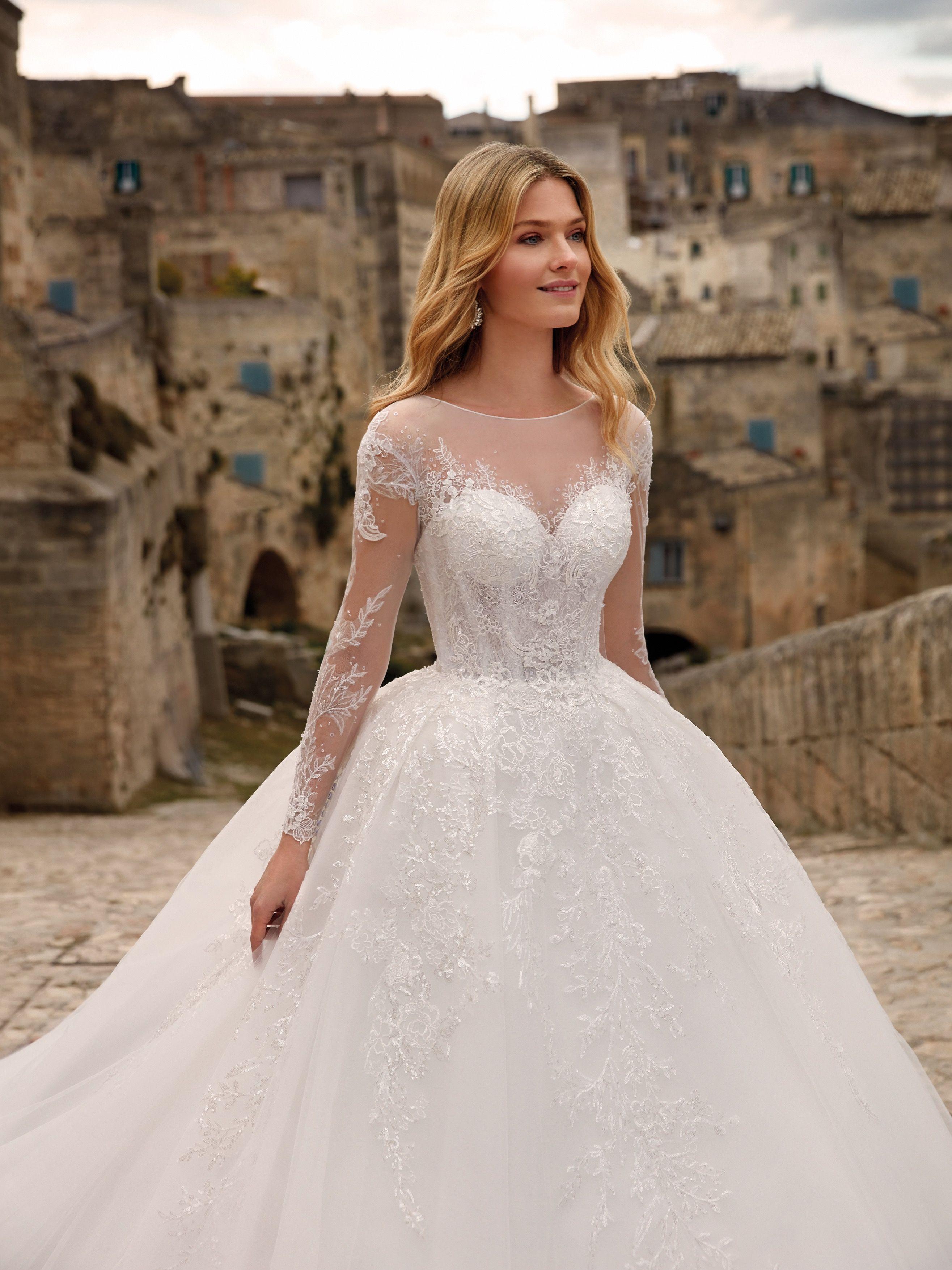 Glamorous Bateau Long Sleeves Wedding Dress Lace Princess Bridal Gowns Onlin Long Sleeve Wedding Dress Lace Wedding Dress Long Sleeve Ball Gown Wedding Dress [ 1350 x 1080 Pixel ]