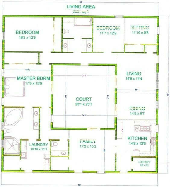 Pin By Lacey Veal On Plans Courtyard House Plans Container House Plans Courtyard House