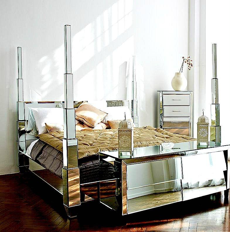 stunning mirrored bed wwwmirroredfurniturecouk - Mirrored Bed Frame