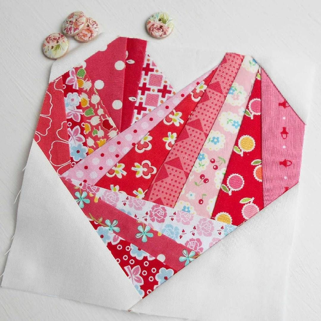 The Splendid Sampler block no. 29 - Scrappy Happy Heart.  A scrapilicious paper-pieced design by Christa Quilts.