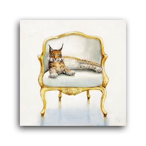 Swell Wild Cat Lynx Fancy White Silk Velvet Gold Louis Chair Oil Squirreltailoven Fun Painted Chair Ideas Images Squirreltailovenorg