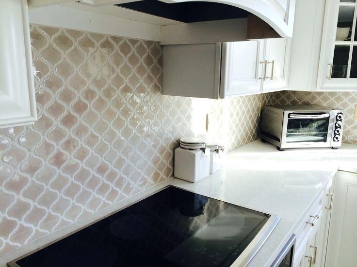 Arabesque Backsplash Tile Fog Arabesque Tile From Home Depot Design By Kitchen Tile Pictures White C Herringbone Backsplash Backsplash Kitchen Tiles Backsplash