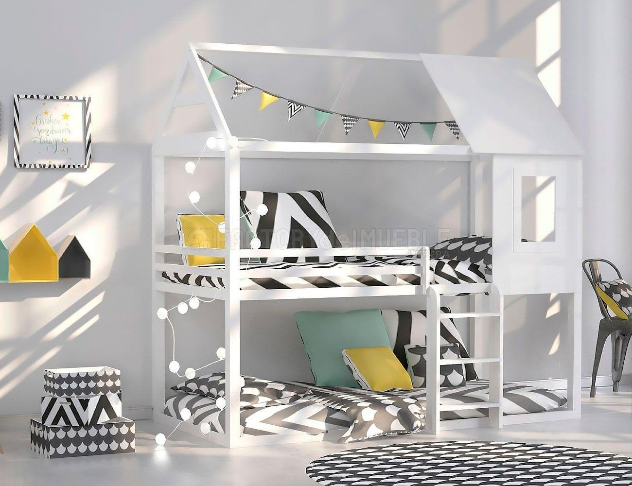 Litera casa madera blanca dormitorios juveniles en 2019 - Literas lacadas en blanco ...