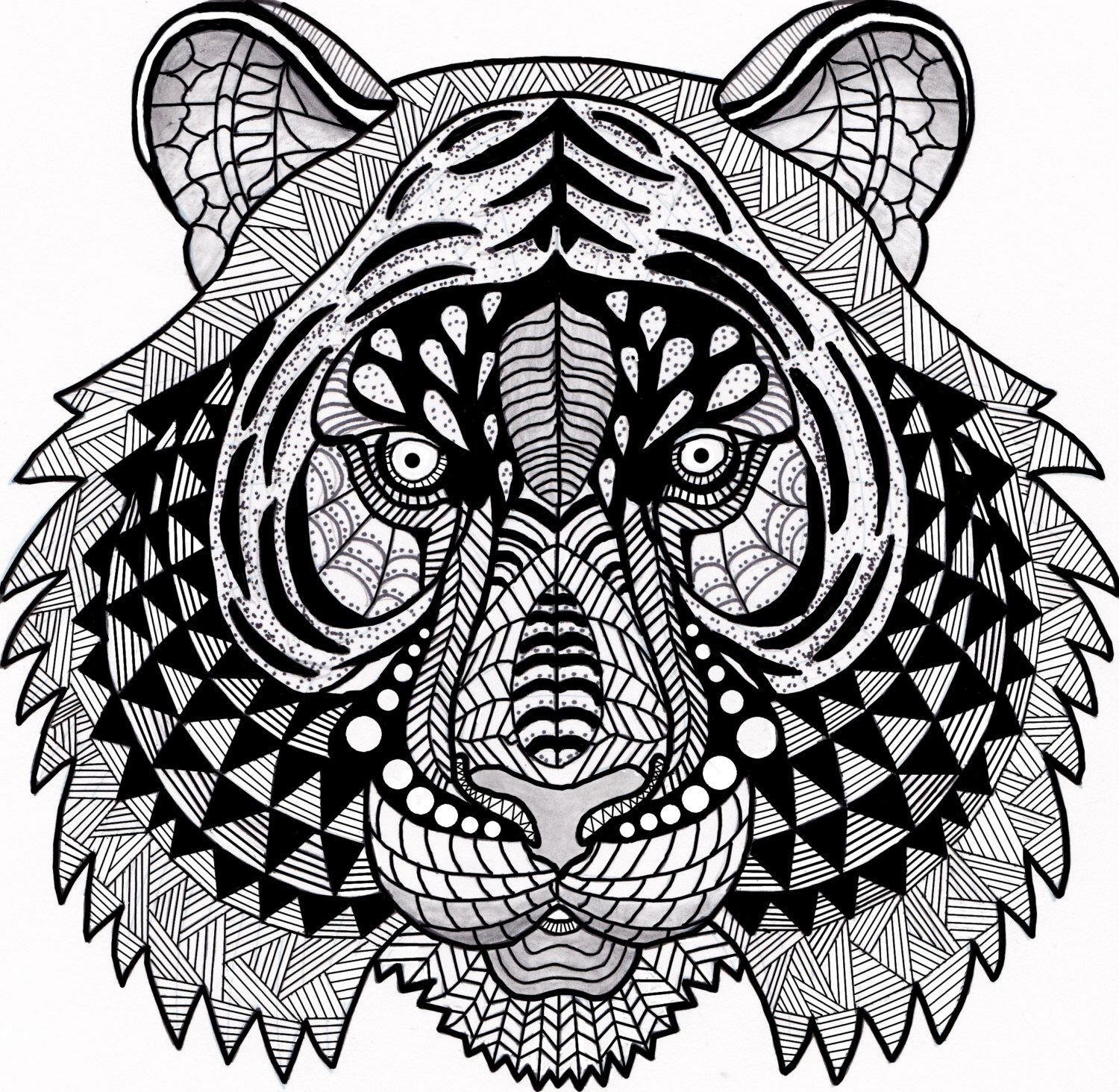 Tiger Zentangle Coloring Page Digital Coloring